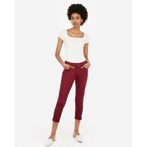 Express Mid Rise Burgundy Double Roll Jean Leggings 8